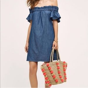 Corey Lynn Calter Off the Shoulder Chambray Dress